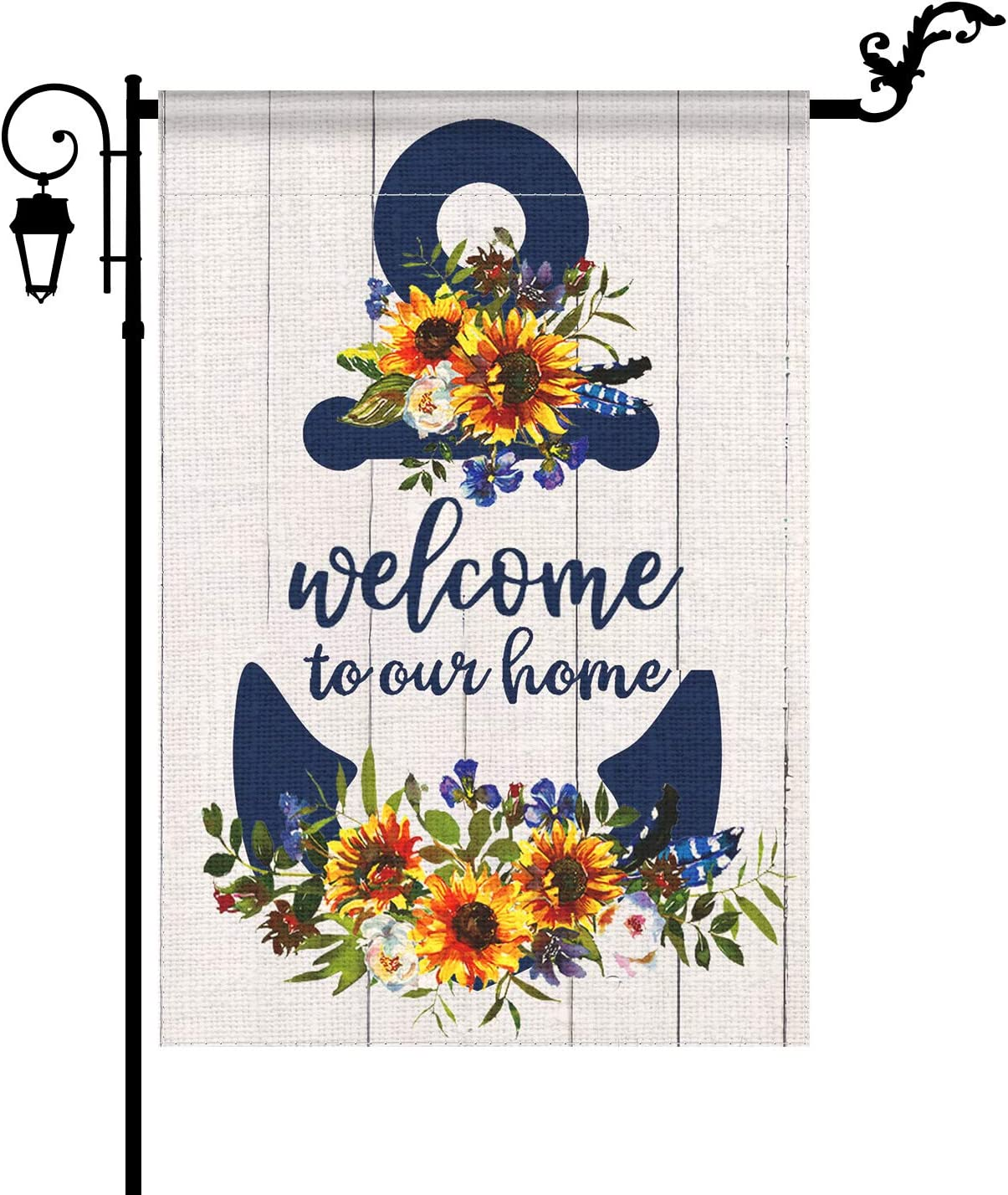 YIWANDA Nautical Anchor Welcome Garden Flag Double Sided, Seasonal Thicked Burlap Outdoor Decorations Floral Yard Flag for Baby Shower Spring Summer Autumn Decor, 12.5 x 18 Inch