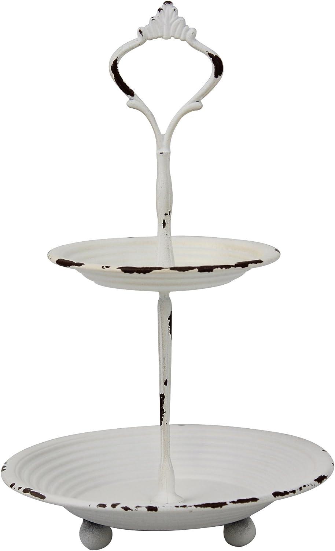 NEW Beautiful Unique Design white serving two tier tray