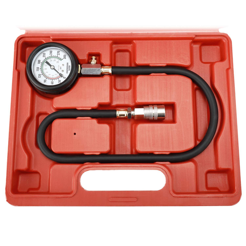 8MILELAKE Engine Cylinders Diagnostic Tester Compression Gauge Test Set with 4 Long Reach Hoses M10 M12 M14