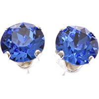 925 Sterling Silver stud earrings for women made with sparkling Sapphire Blue crystal from Swarovski®. London jewellery box. Hypoallergenic & Nickle Free Jewellery for Sensitive Ears.