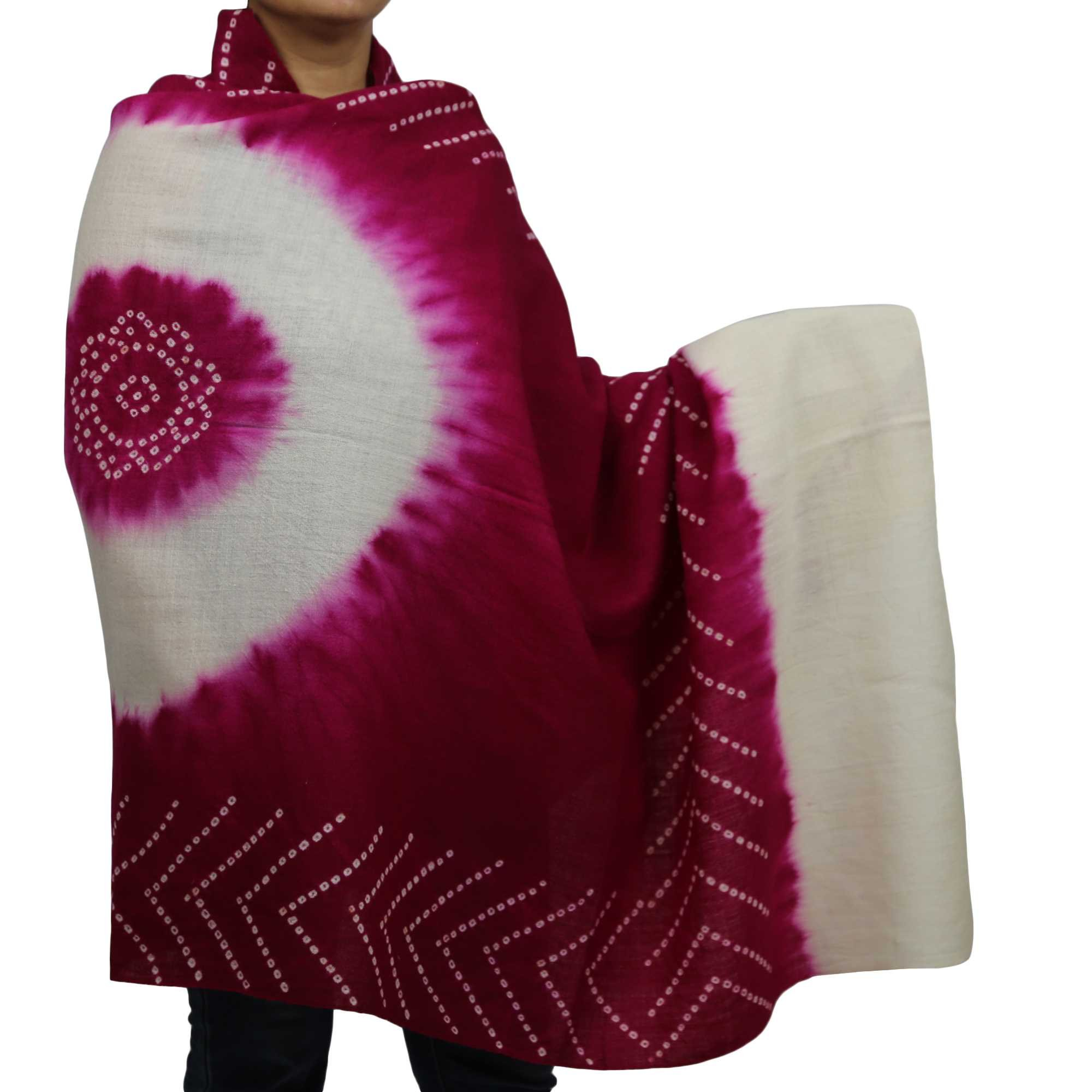 Red-Violet Cream Women'S Accessory Indian Woolen Shawl Tie-Dye Handmade 36 X 80