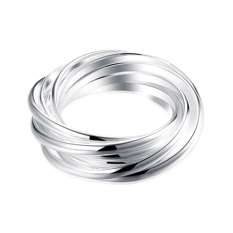 HMILYDYK Fashion Jewelry 925 Sterling Silver plated Interlocked Rolling Eternity Ring Love Wedding Band