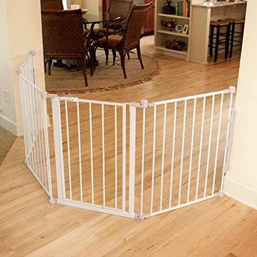 This Metal Baby Gate Features Configurable Panels That Easily Install To  Protect Angled Doorways, Hallways, Or At The Bottom Of Stairs For Openings  Up To 76 ...