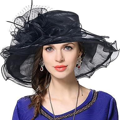 648746cca6f91 VECRY Women Church Derby Hat Wide Brim Wedding Dress Hat Tea Party HAT S019  (Black