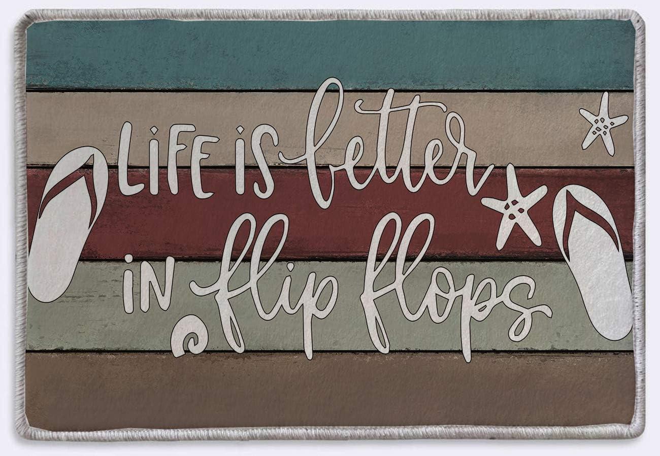 Life is Better in Flip Flops Beach Door Welcome Sign Rug Mat | Rustic Farmhouse Decor | Beach Housewarming Gifts