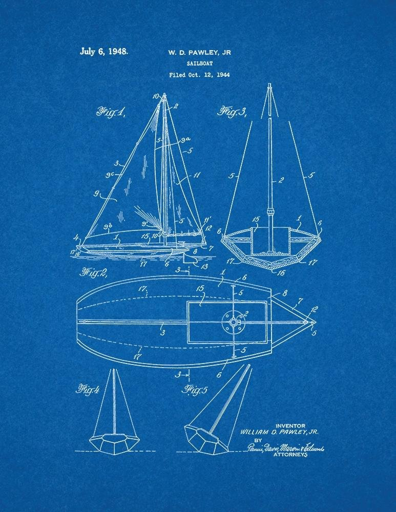 Amazon sailboat patent print art poster blueprint 11 x 14 amazon sailboat patent print art poster blueprint 11 x 14 posters prints malvernweather Gallery