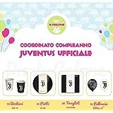 Kit Compleanno Juventus Ufficiale per 16 Persone - Piatti, Bicchieri, Tovaglioli e Palloncini