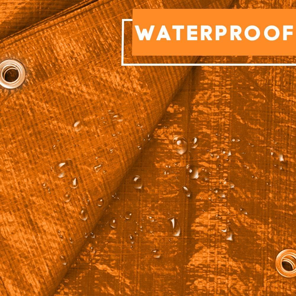 le camping B/âche de protection orange r/ésistante et imperm/éable avec /œillets pour prot/éger les meubles de jardin 100 g//m/ètre carr/é la couverture de toit et bien plus encore