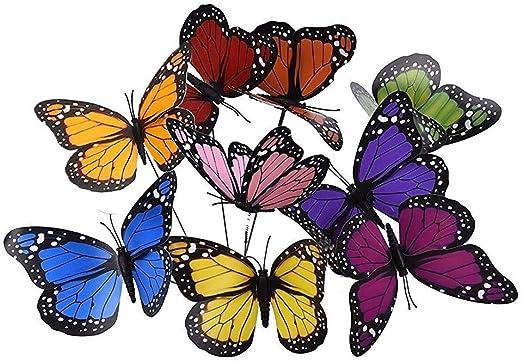 27 pcs 12 cm Colorido jardín Mariposas Adornos en Sticks Mariposa estacas para Decoraciones de jardín Patio al Aire Libre decoración de Mariposas, 9 Colores: Amazon.es: Jardín