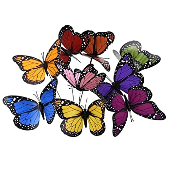18 Pcs 12cm Colorful Garden Butterflies Ornaments On Sticks Butterfly Stakes...