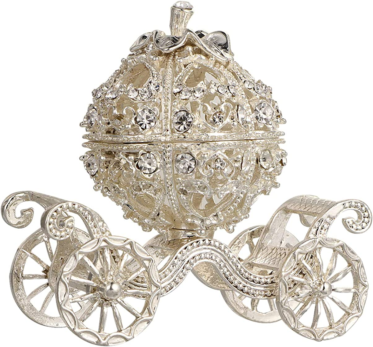Kisangel Silver Rhinestone Princess Crystal Pumpkin Carriage Trinket Jewelry Box Collectible Figurine Decorative Jewelry Ring Display Holder Table Sculpture