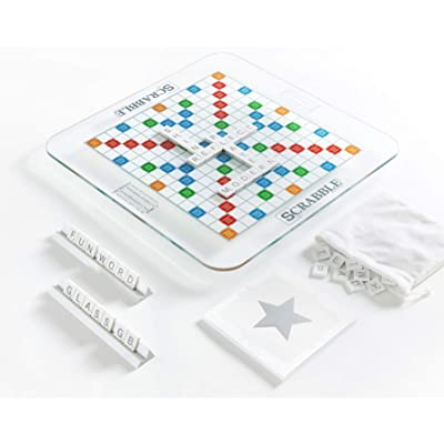 Scrabble Glass Edition with Rotating Game Board: Toys & Games
