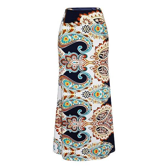 Sylar Faldas Flamencas Mujer Estampado Vintage Faldas Largas Mujer ...
