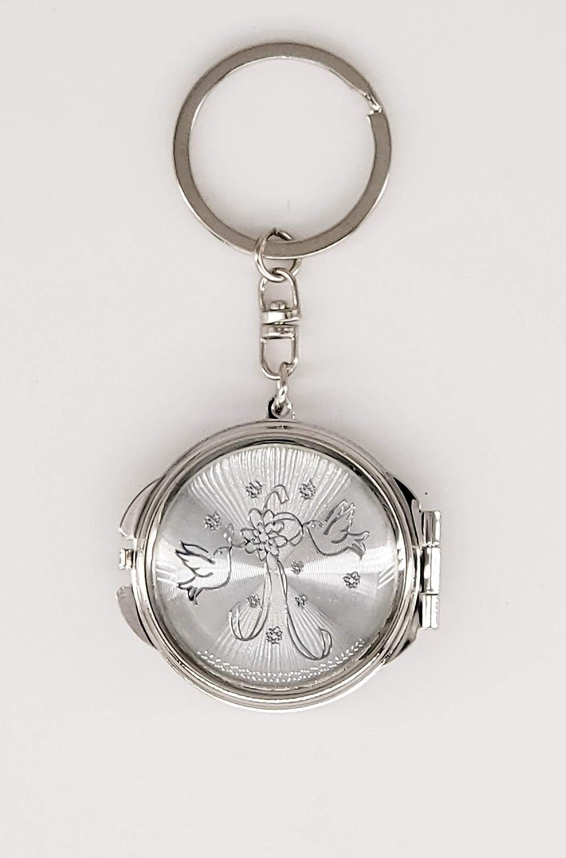 12×Bridal Shower Bird Silver Compact Mirror Keychain Wedding Party Gift favor