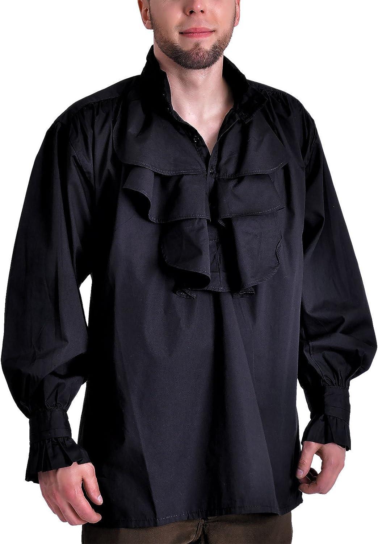 Algodón Pastor Camisa Camisa Gótico (Tallas M – XXL), Color Negro Negro M: Amazon.es: Ropa y accesorios
