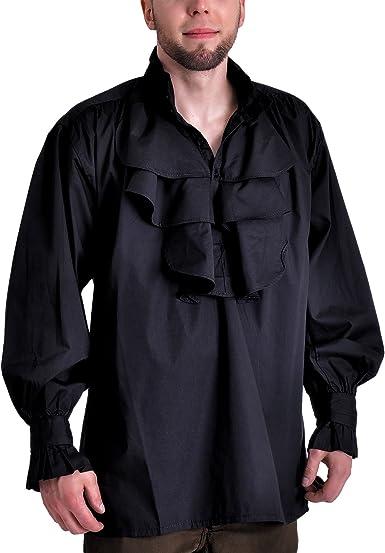Algodón Pastor Camisa Camisa Gótico (Tallas M – XXL), Color Negro