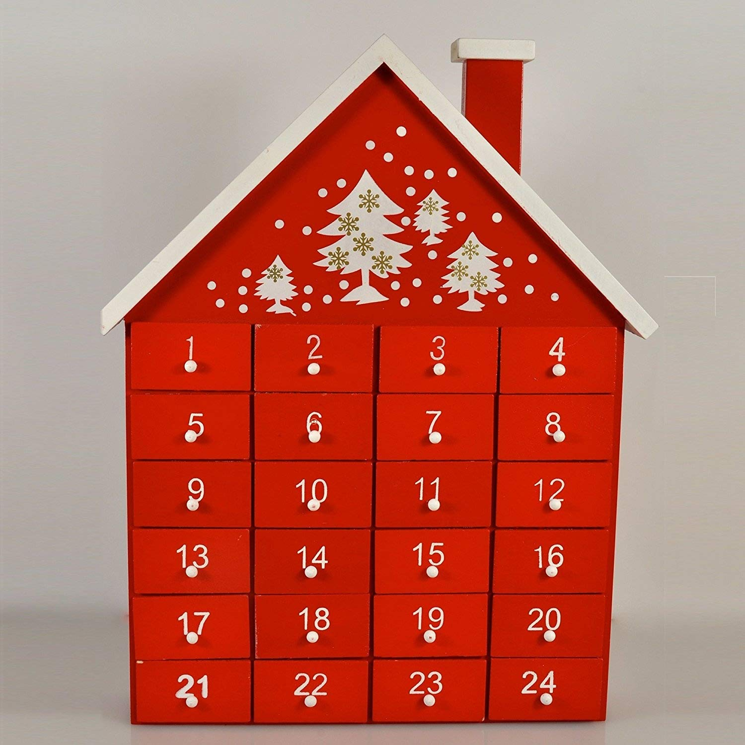 Gisela Graham Wooden Christmas Red Advent Calendar House with Individual Drawers by Gisela Graham Gisela Graham Limited