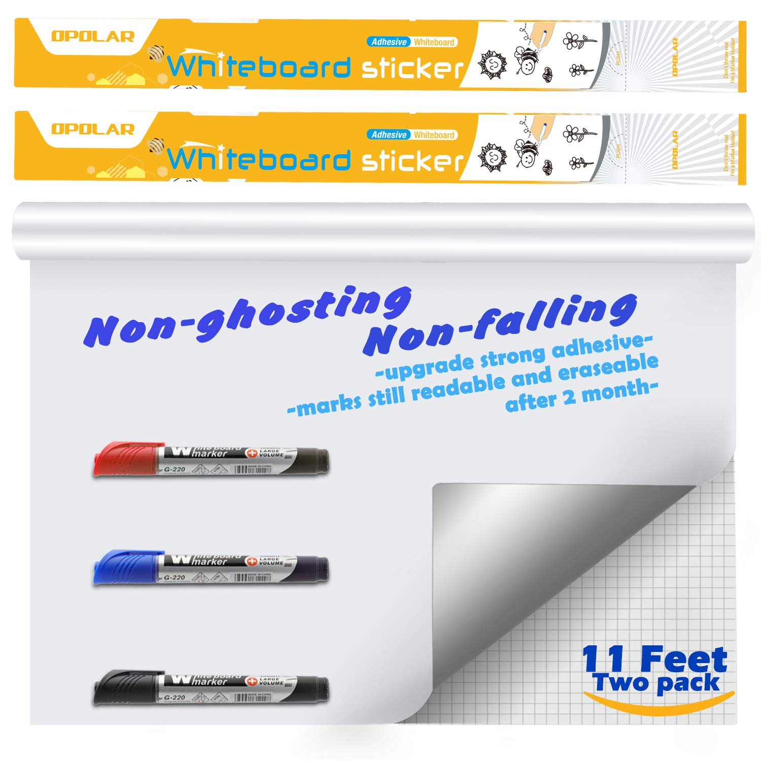 Whiteboard Sticker Paper Sheets, Easy Peel and Stick Dry Erase Contact Paper Upgrade 11 Ft Extra Wide, Self Adhesive Wall Paper Roll Pack of 2 for ...