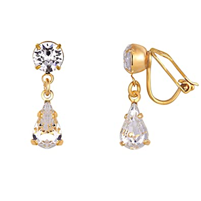 5cc0fac5e217 Swarovski Crystal Clip-on Earrings - Women s Gold Plated Teardrop Earrings  Made From Two White Swarovski Crystals - Presented in a Luxury Giftbox  LJ  ...