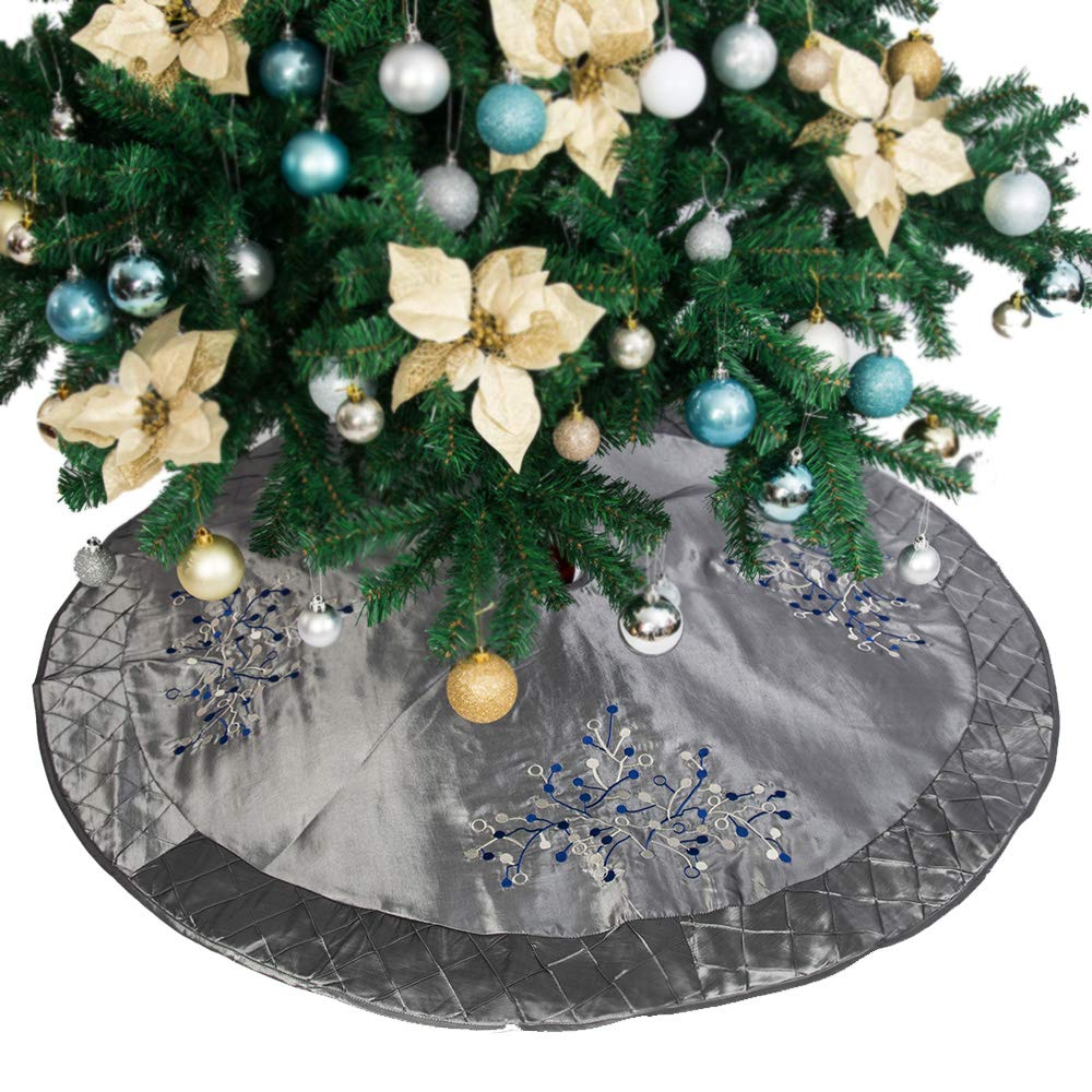 "Abobo 50""Christmas Tree Skirt – Silver Quilted Satin Berry Embroidery & Grid Border (Heirloom Quality)"