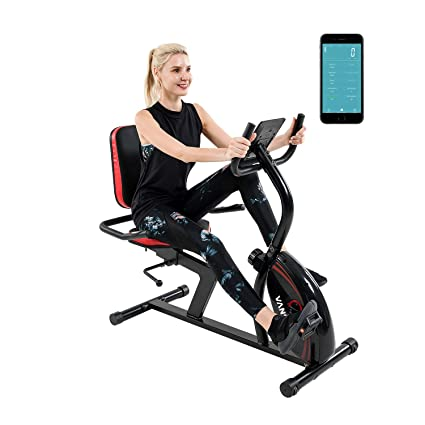 Vanswe Recumbent Exercise Bike 16 Levels Magnetic Tension Resistance 380 lbs. Stationary Bike with Adjustable Seat, Transport Wheels and Bluetooth Connectivity for Workout and Physical Therapy best recumbent bikes