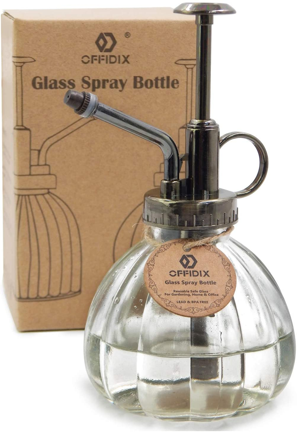 OFFIDIX Transparent Glass Watering Spray Bottle, 6.3 Inches Tall Vintage Style Spritzer Bronze Plastic Top Pump One Hand Watering Can Glass Spary Bottle Plant Mister Glass Watering Can Indoor : Garden & Outdoor