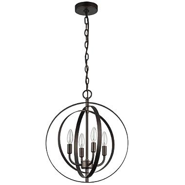 MICSIU Chandelier Industrial Antique Light Vintage Drop Light Spherical 4 Lights for Hotel, Restaurants, Bedroom, Oil Rubbed Bronze