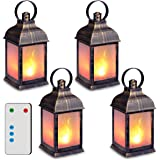 """zkee 11"""" Vintage Style Decorative Lantern,Flame Effect LED Lantern,(Golden Brushed Black,Remote Timer) Indoor Lanterns…"""
