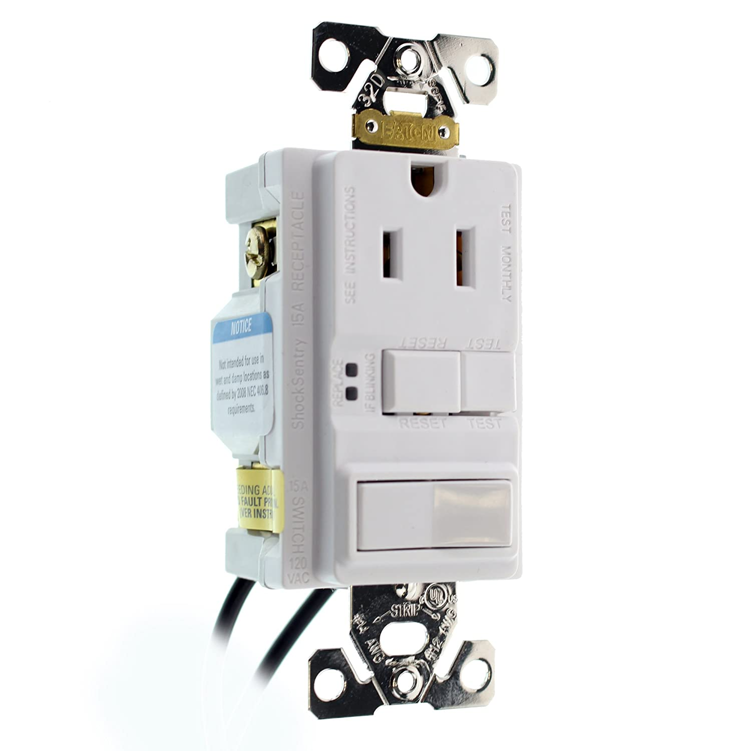 Hubbell Gfspst15wz Combo Gfci Outlet 1p Switch Self Test 15 Amp Ground Fault Circuit Interrupter Safe Household And 120 Volt White