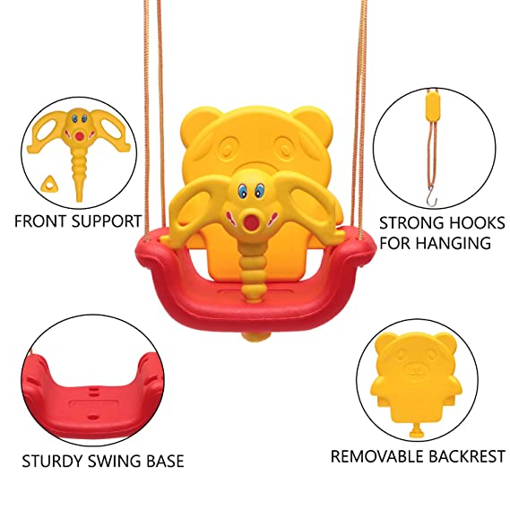 eHomeKart 3-in-1 Indoor and Outdoor Adjustable Baby Swing/Jhula for Kids Age 6 Months to 6 Years (Multicolour)