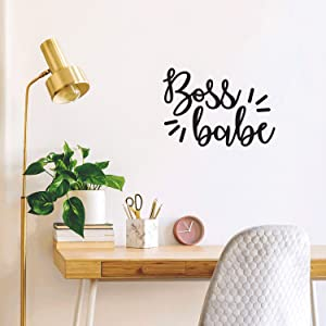 "Vinyl Wall Art Decal - Boss Babe - 10.5"" x 15"" - Modern Inspirational Sassy Quote Sticker for Woman Girl Bedroom Living Room Apartment Home Work Office Decor (Black)"