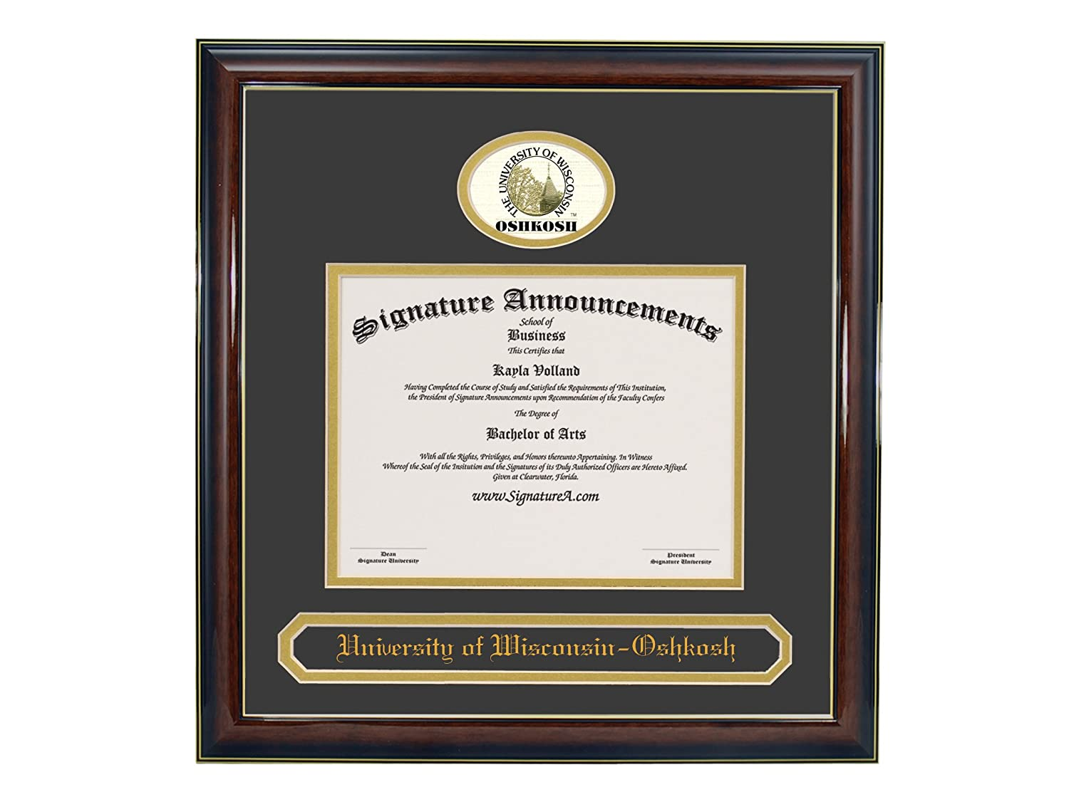 Signature Announcements University of Wisconsin OshKosh Undergraduate Sculpted Foil Seal /& Name Graduation Diploma Frame 16 x 16 Gloss Mahogany with Gold Accent