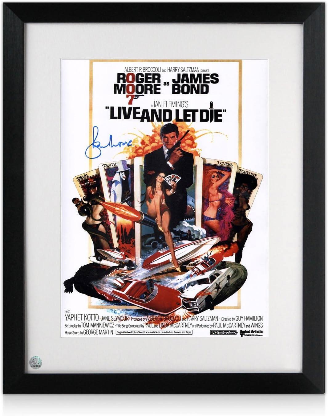 exclusivememorabilia.com Roger Moore y Firmado Enmarcado vivir y dejar morir de James Bond Póster De Película: Amazon.es: Deportes y aire libre