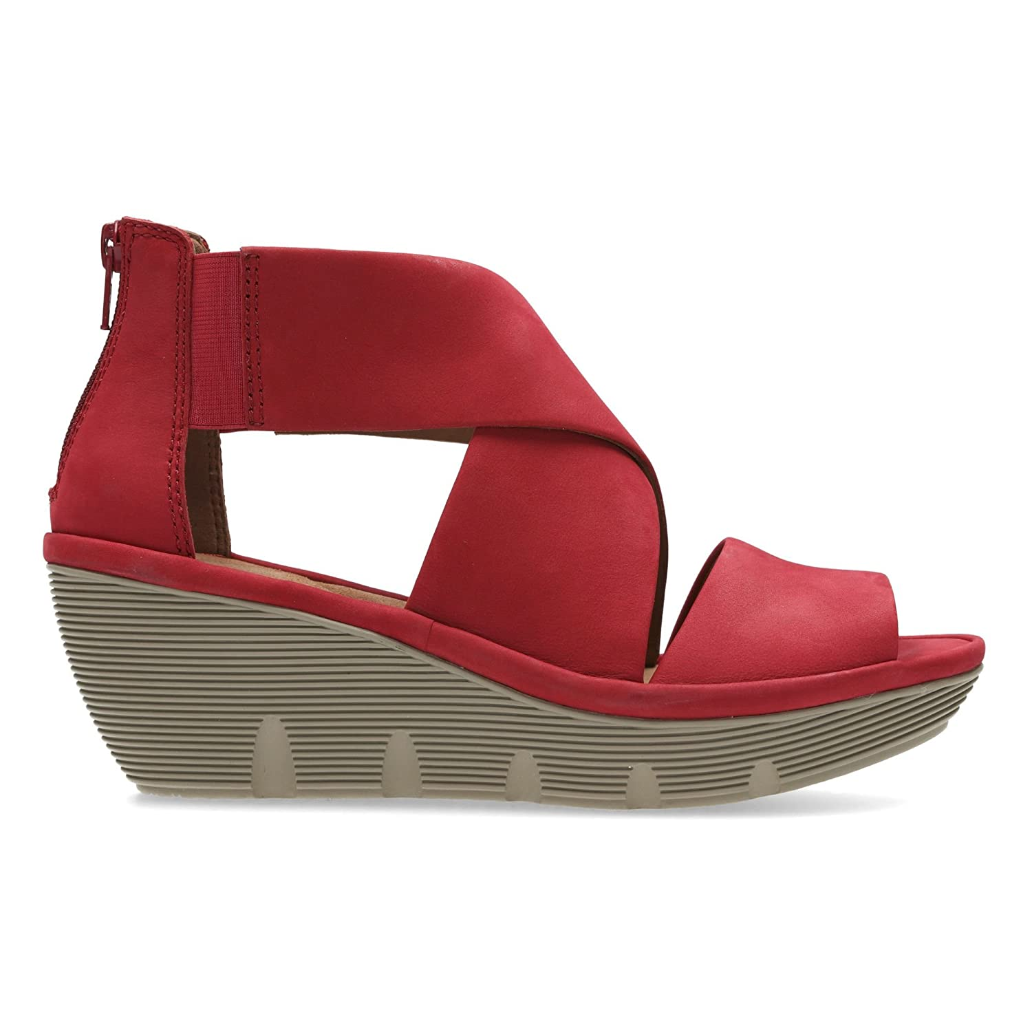 14e6cabba80d Clarks Clarene Glamor Womens Wide Wedge Heel Sandals 3 Red Nubuck  Amazon.co .uk  Shoes   Bags