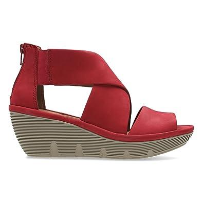 5cb9f346c6a5 Clarks Clarene Glamor Womens Wide Wedge Heel Sandals 3 Red Nubuck ...