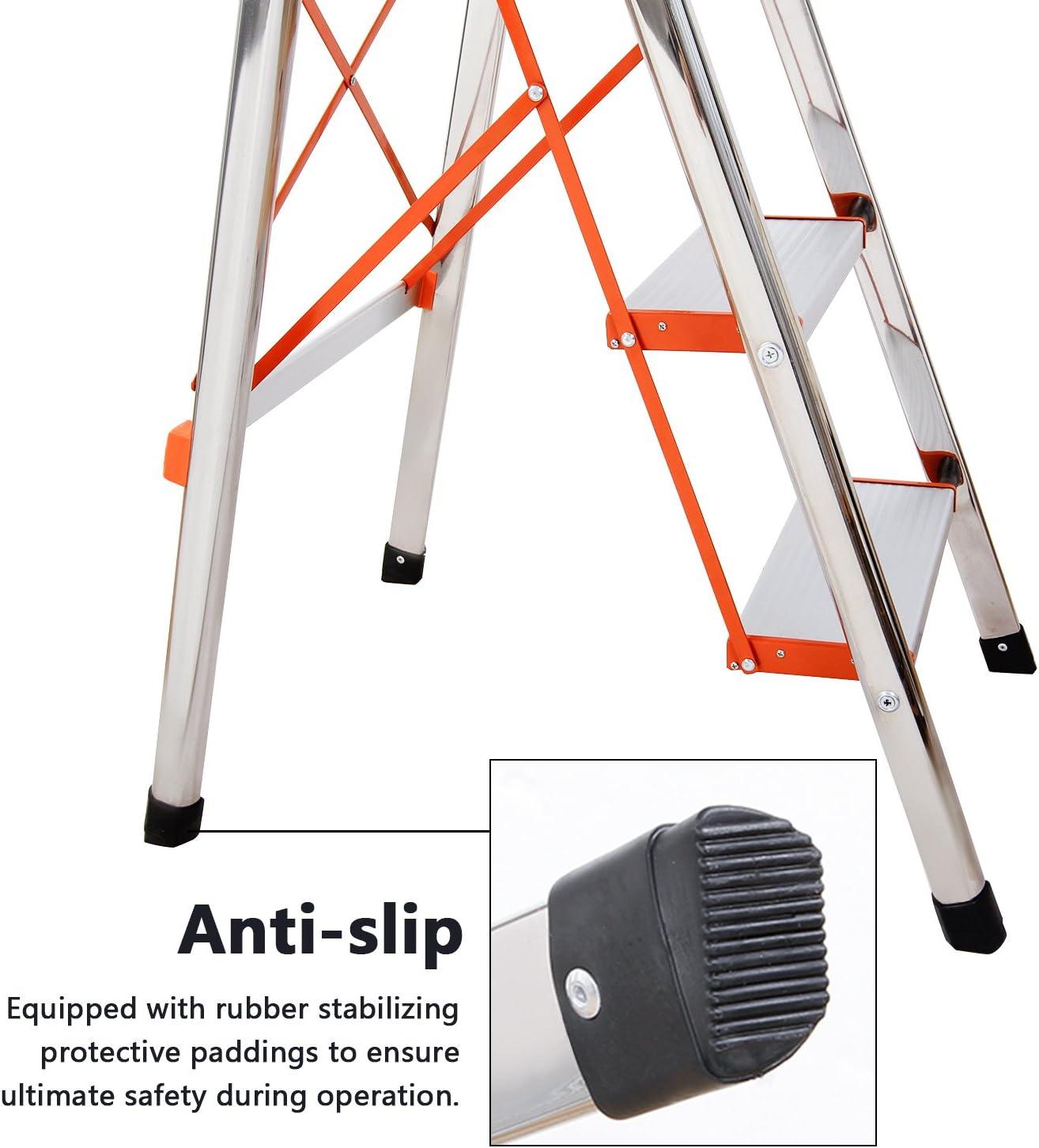 WolfWise Escaleras Plegables Aluminio de 4 Peldaños Portátil Antideslizante con Empuñadura de Goma Capacidad de 330 libras, Escaleras de Plata para el Hogar: Amazon.es: Bricolaje y herramientas