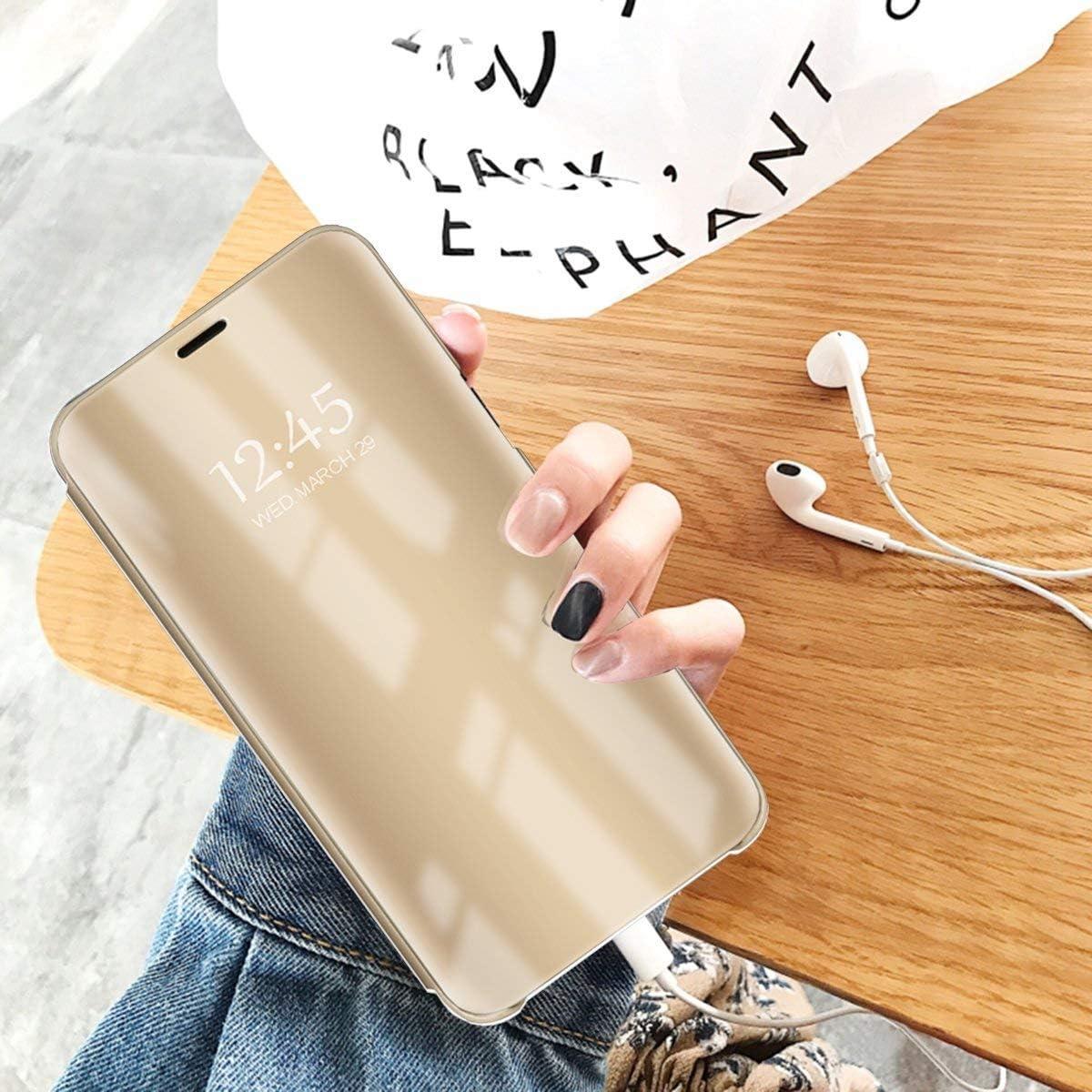 Caler Cover Compatible avec Samsung Galaxy A520//A5 2017 Miroir Coque Intelligente Portefeuille Flip Silicone Transparent Case en Cuir Bumper Folio Protecteur Couverture Mirror Support Shell