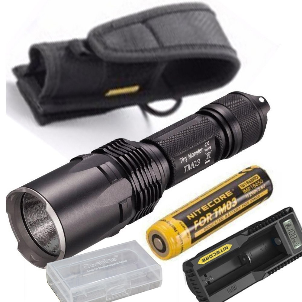 Eartha NiteCore TM03 CRI 2600 Lumens Cree XHP70 LED Flashlight with IMR 18650 Rechargeable Battery,holster,battery case,UM10 charger by Eartha