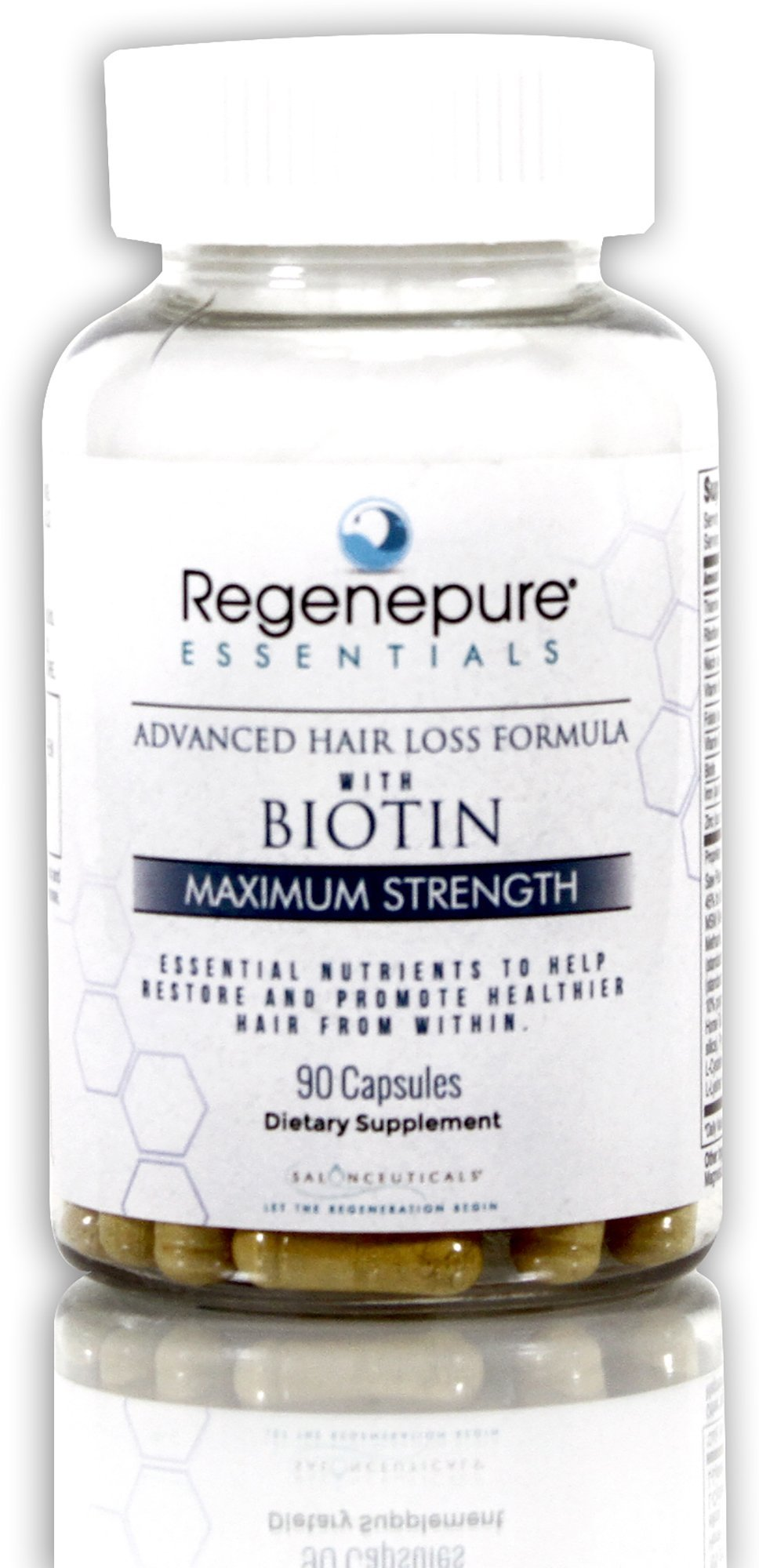 Regenepure - Advanced Maximum Strength Hair Loss Supplement, with Biotin to Support Hair Growth, 90 Capsules