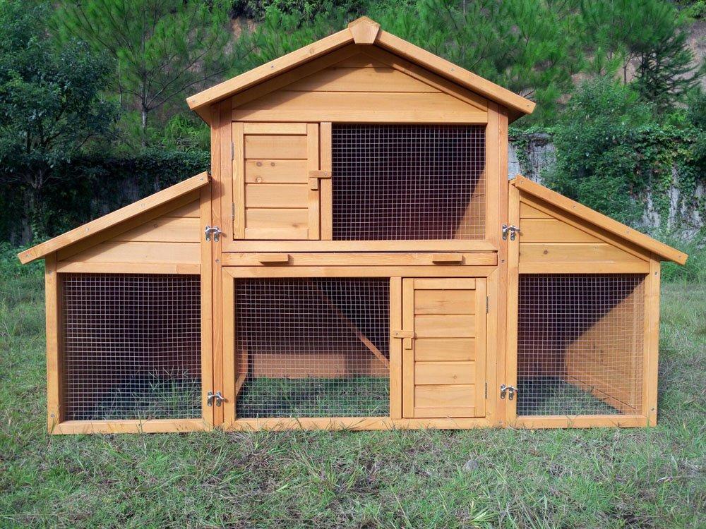 Kaninchenstall Kleintierhaus Hasenstall Kleintierkäfig Nr. 01 Möhrchen mit Seitenflügeln