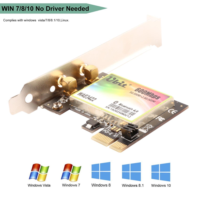 WIE8260 Ubit 802.11 AC Tarjeta de Red inal/ámbrica de Banda Dual de 1167 Mbps con Bluetooth 4.2 Tarjeta de Red de Adaptador inal/ámbrico Wi-Fi Pci-e de Banda Dual para PC