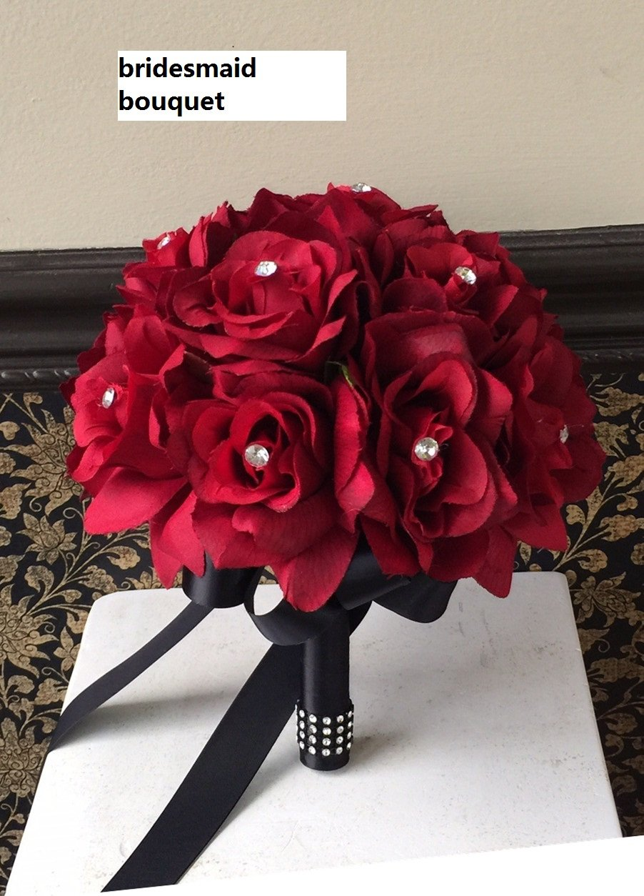 Amazon 13pc Apple Red With Black Ribbon Wedding Flowers Package