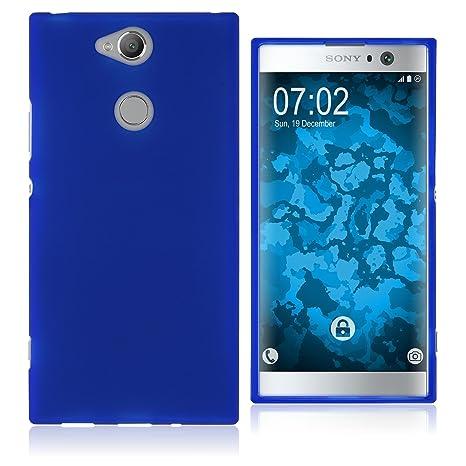PhoneNatic Case kompatibel mit Sony Xperia XA2 - blau Silikon Hülle matt Cover