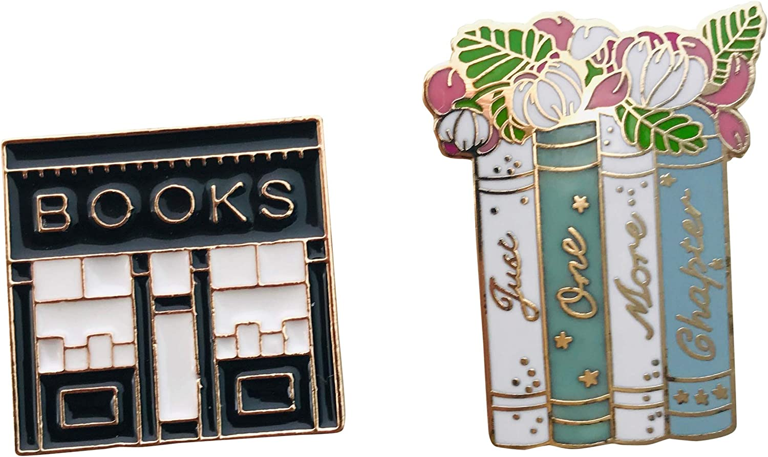 2 piece Enamel Pin Set Book Lover pins for purse or clothes 1.25 Inch PinBack Backpack Pins Buttons Gift for Book Lover Gold Rimmed Packaged Beautifully