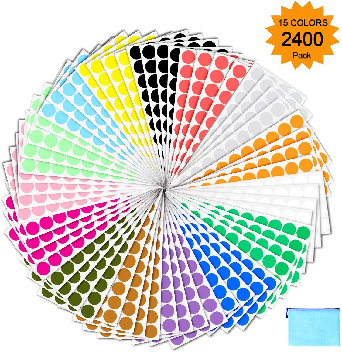 "Pack of 2400 3/4"" Round Color Coding Circle Dot Sticker Labels - 15 Assorted Colors, Bonus Zipper File Bag Included for Easy Storage"