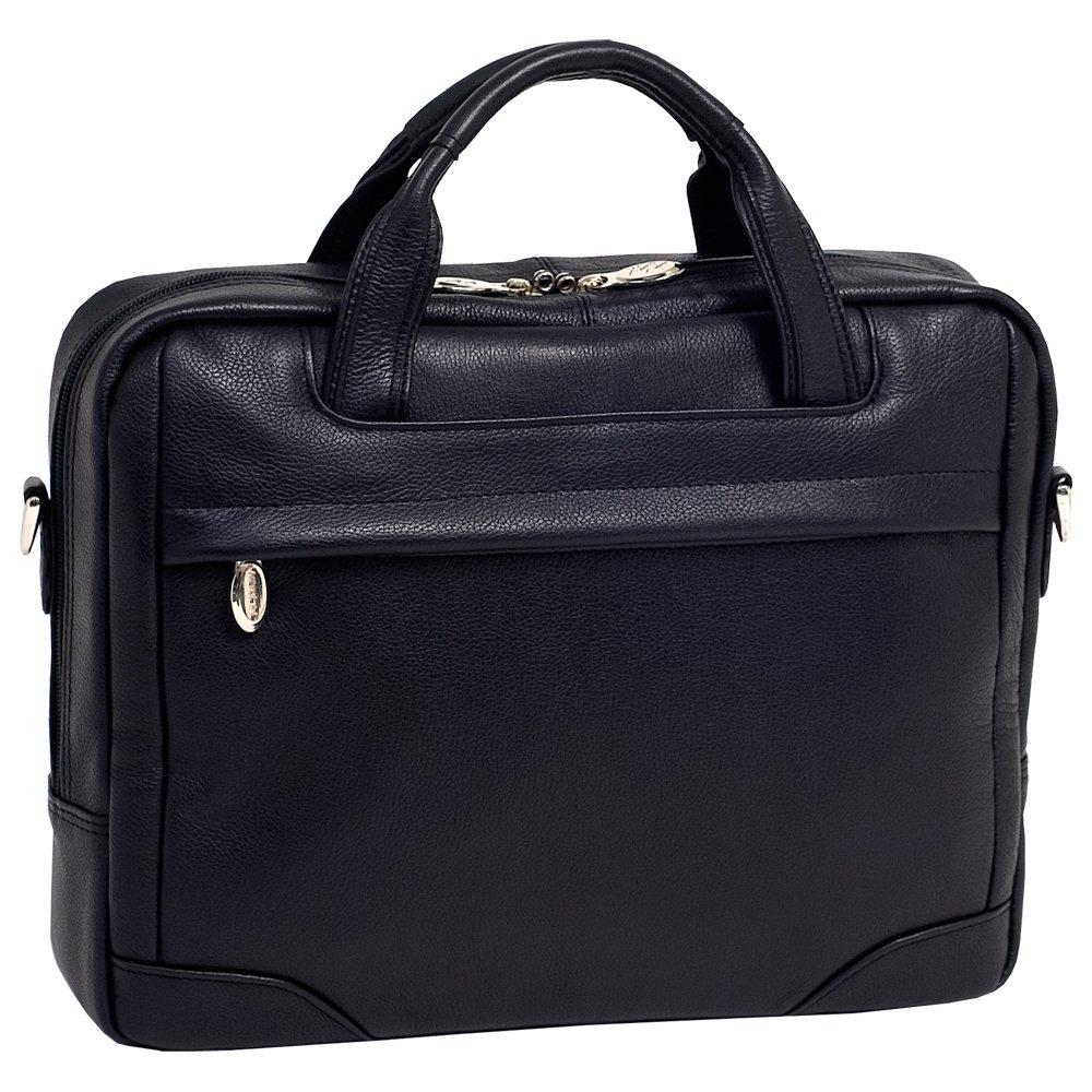 McKleinUSA BRONZEVILLE 15485 Black Leather Medium Laptop Brief