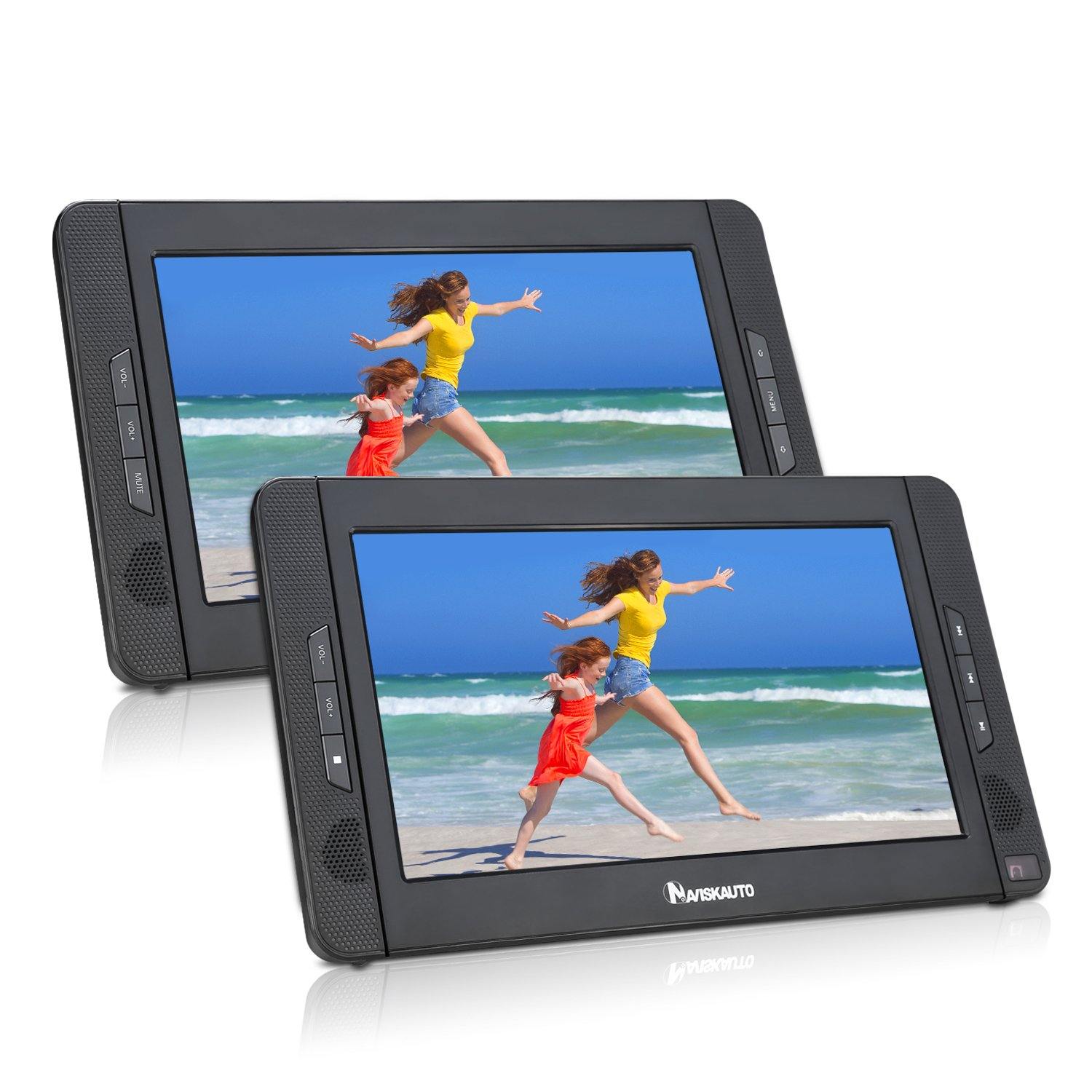 10.1'' Dual Screen Portable DVD Player with 5-Hour Built-In Rechargeable Battery-Black (Host DVD Player+ Slave Monitor) by NaviSkauto