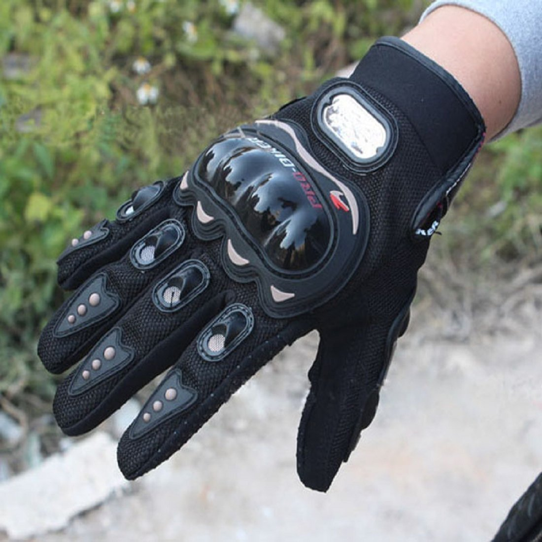 Pro-Biker Bicycle Short Sports Leather Motorcycle Powersports Racing Gloves (Black, L)