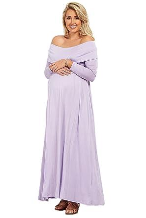 263b0abc614e3 ... hot product d5efc 5c375 PinkBlush Maternity Lavender Off Shoulder Long  Sleeve Maternity Maxi Dress, SMA ...