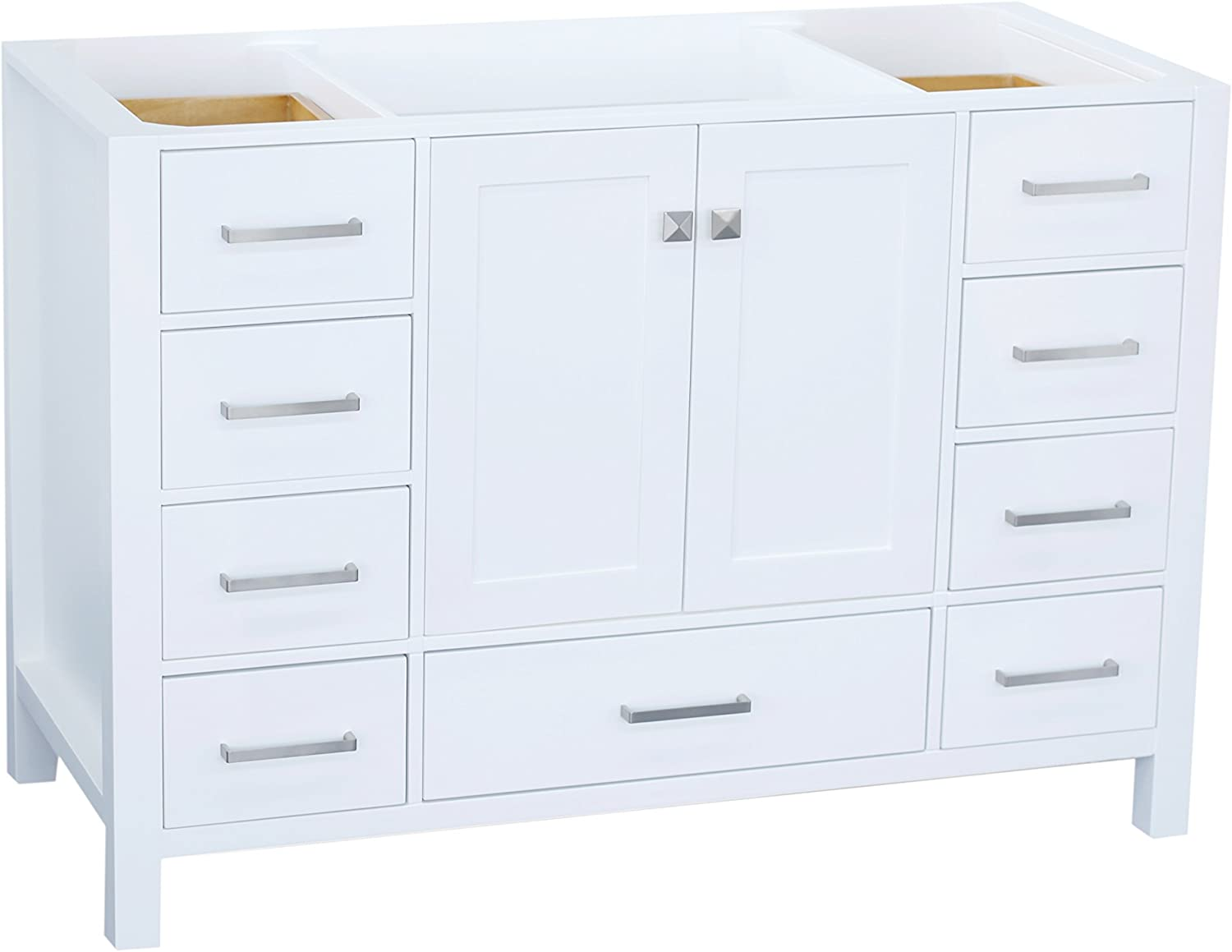 Amazon Com Ariel Cambridge A049s Bc Wht 48 Inch Single Solid Wood White Bathroom Vanity Base Cabinet With 2 Soft Closing Doors And 9 Self Closing Drawers Kitchen Dining